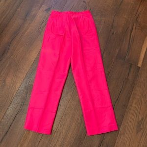Hot pink straight leg silk blend petite pants